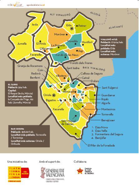 Mapa de las comarcas a las que va destinada la agenda