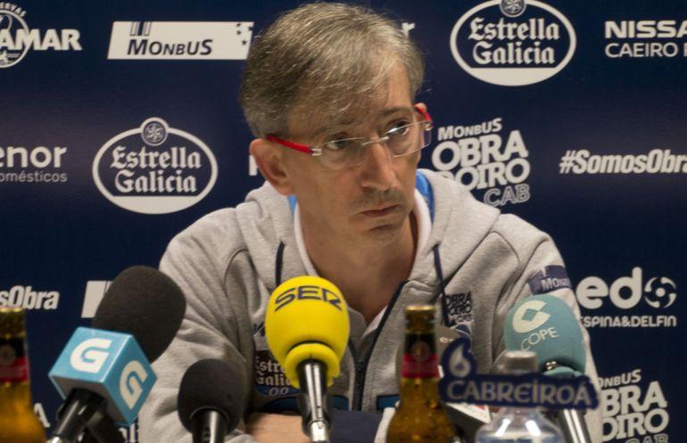 Moncho Fernández, en la rueda de prensa previa al partido ante el Fútbol Club Barcelona del domingo