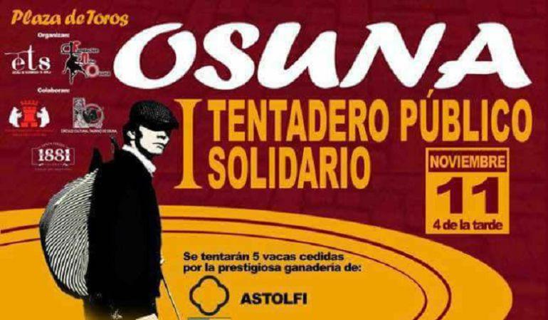 Cartel del I Tentadero Público Solidario que tendrá lugar en la plaza de Osuna el próximo 11 de noviembre