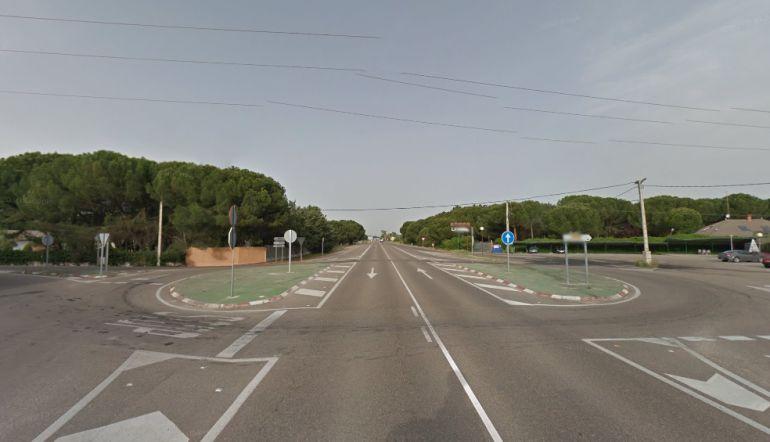 Cruce de la carretera N-122 a la altura de Traspinedo