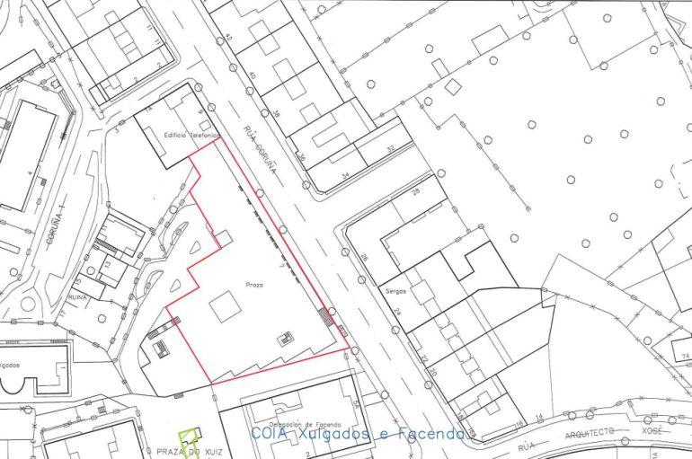 Un plano que muestra la zona en la que se creará el parque temático de la calle Coruña
