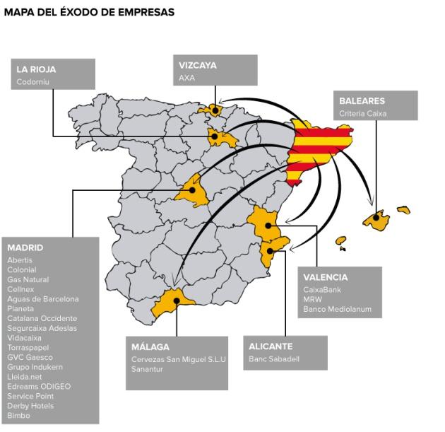 El mapa del éxodo de empresas de Cataluña