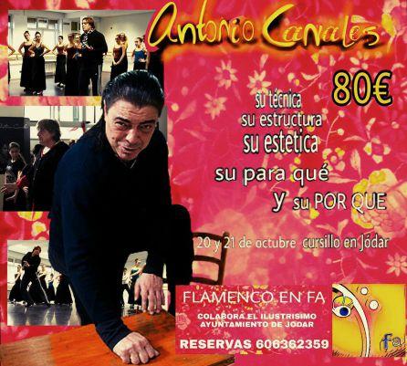 El bailaor Antonio Canales impartirá un curso intensivo en Jódar