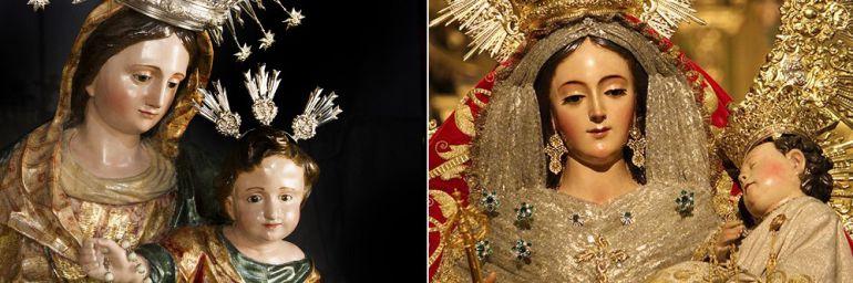 La Virgen del Rosario de Las Aguas, a la izquierda, y la de La Macarena procesionan este fin de semana