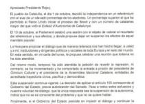 Puigdemont amenaza con votar la independencia si el Gobierno aplica el 155