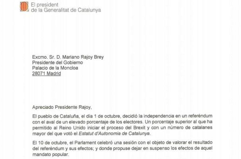La carta de Puigdemont a Rajoy.