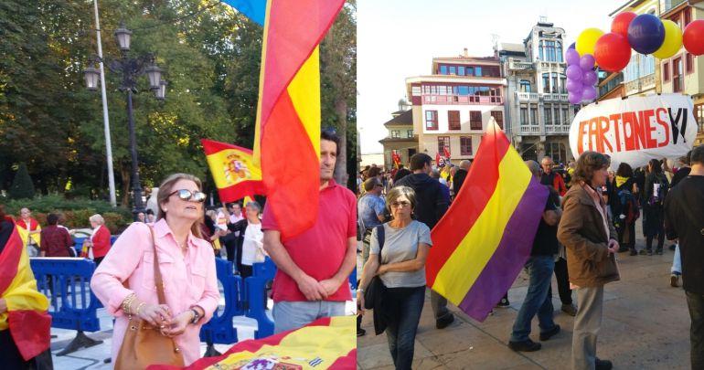 """Manifestaciones por """"la Unidad de España"""" y de las Marchas de la Dignidad, hoy en Oviedo."""