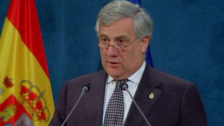 El presidente del Parlamento Europeo, Antonio Tajani en un momento de su discurso en la ceremonia de entrega de los Premios Princesa de Asturias.