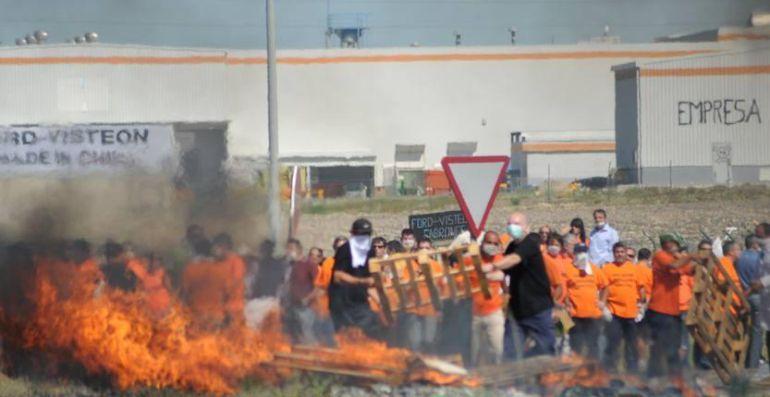 Movilización en 2009 contra el cierre de Visteón en El Puerto de Santa María