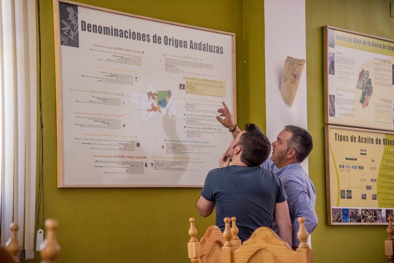 De derecha a izquierda, el presidente de la cooperativa 'Sierra de Génave', Adolfo Sánchez, explica un cuadro sobre las DOs del aceite en Andalucía.
