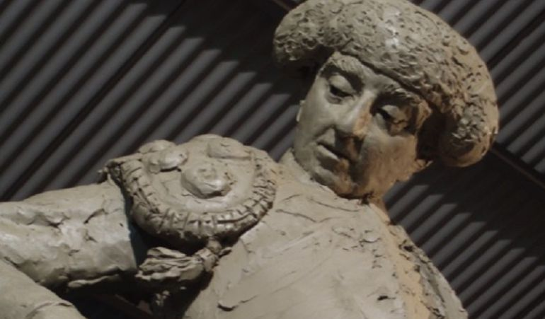 El monumento a Manuel Jiménez 'Chicuelo' durante el proceso de creación a manos del escultor Alberto Germán Franco