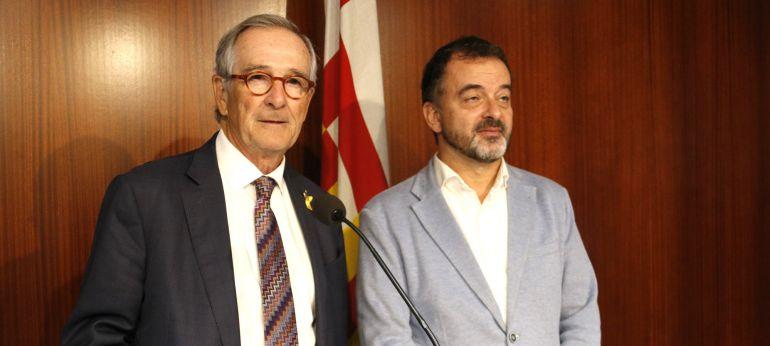 Els presidents del Grup Demòcrata i d'ERC a l'Ajuntament de Barcelona, Xavier Trias i Alfred Bosch, en roda de premsa conjunta