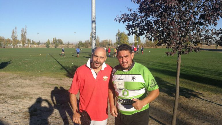 Emilio Cuadrado y David Blanco en pleno entrenamiento de rugby