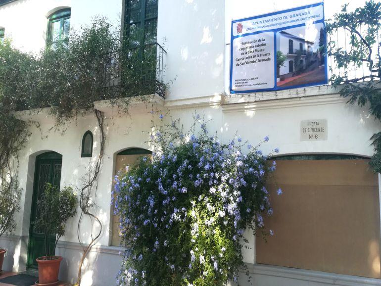 Obras en la casa-museo Federico García Lorca de la Huerta de San Vicente, en Granada