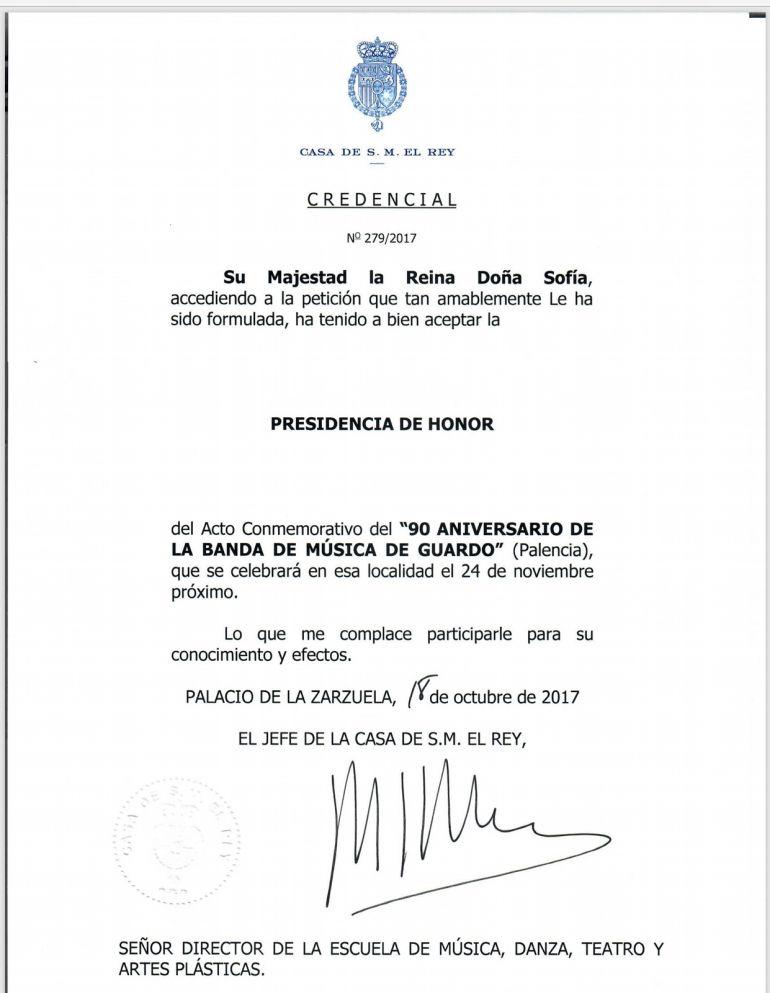 Carta enviada por la Casa Real