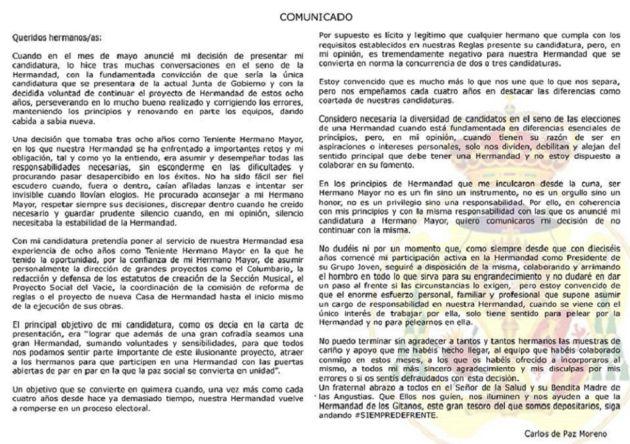 Carlos de Paz renuncia a ser candidato a hermano mayor de Los Gitanos: Carlos de Paz renuncia a ser candidato a hermano mayor de Los Gitanos