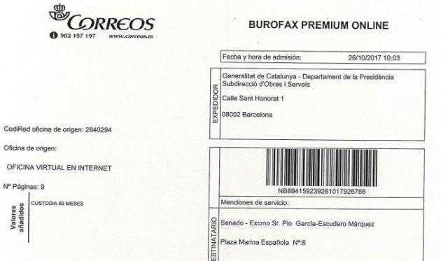 Justificación del envío del burofax remitido por Carles Puigdemont.