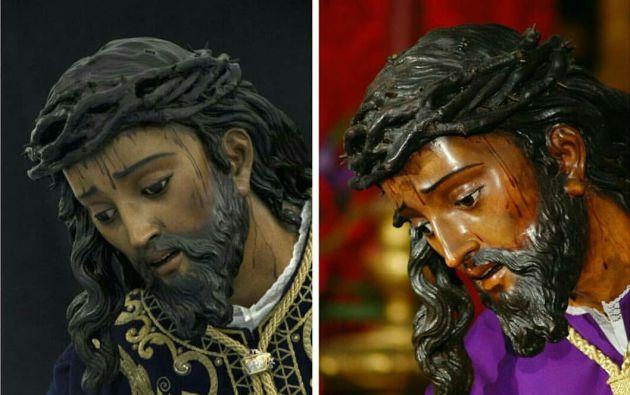 Imagen comparativa del ahora y el antes de la restauración del Cristo de las Tres Caídas