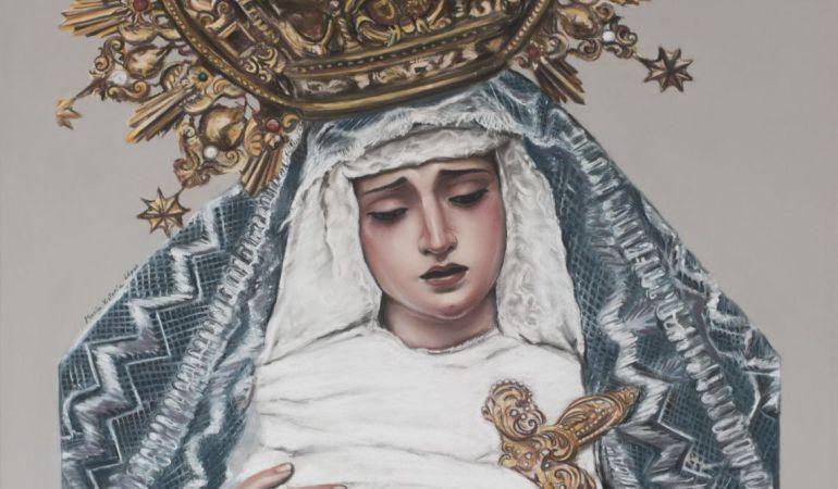 La Virgen de La Angustia en el cartel editado por la Hermandad de Los Estudiantes en conmemoración del 75 aniversario de su llegada a la corporación