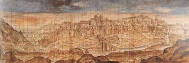 Ilustración de Cuenca en 1565 obra de Anton van den Wyngaerde.