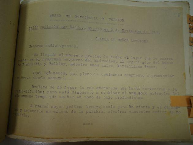 Texto original con fecha dos de noviembre de 1932 del habitual programa de los miércoles que emitía Unión Radio Valencia, Maximiliano Thous Orts, aprovechaba el día señalado para hablar de la muerte y su folklore