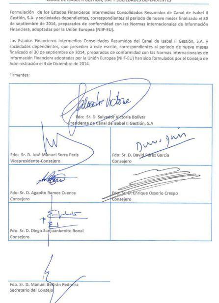 Acta del Consejo de Administración que validó la memoria que recogía la compra de Emissao
