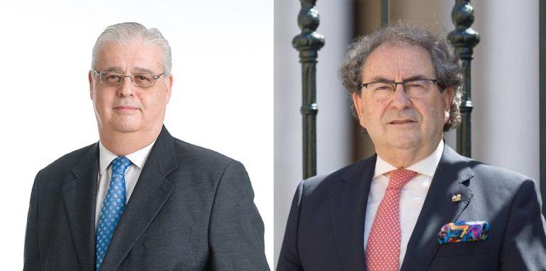 Santiago Álvarez Ortega, a la izquierda de la imagen, y José Antonio Fernández Cabrero son los candidatos a hermano mayor en La Macarena