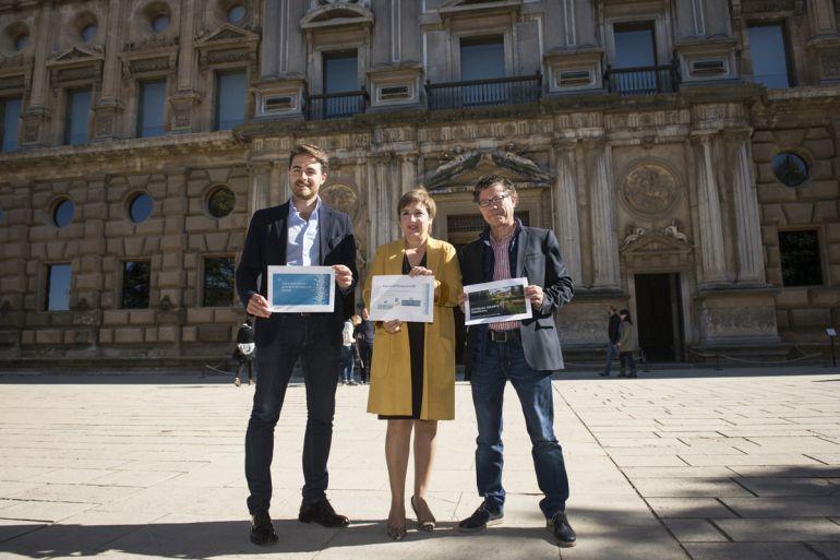 El delegado de Cultura, la delegada del Gobierno andaluz y el director de la Alhambra presentan el presupuesto del conjunto monumental granadino para 2018