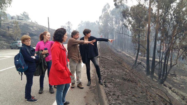 Ana Pontón en una visita a un incendio