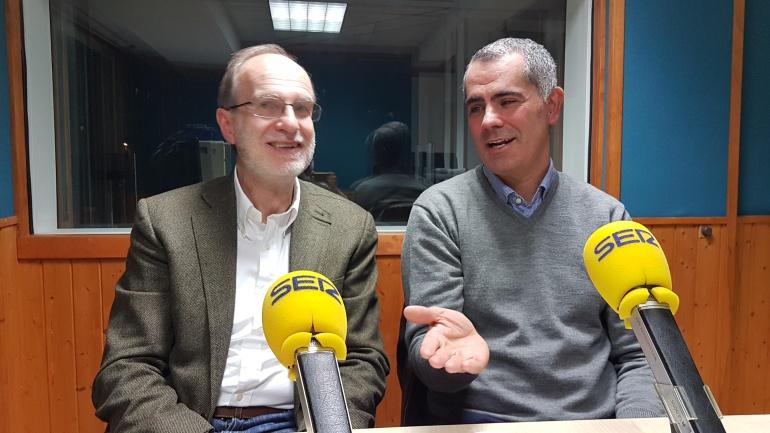 José Antonio Cagigas y Miguel Saro en el estudio de la Ventana