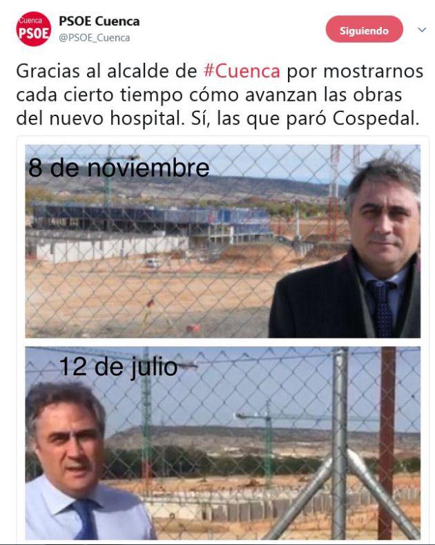 Cuenca: La irónica respuesta del PSOE en Twitter a las críticas del alcalde sobre el hospital