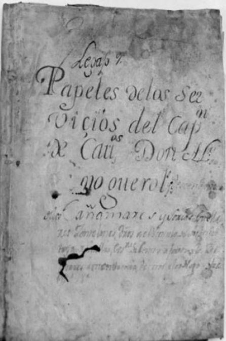 Portada de los 'papeles' de Alonso de Noguerol.