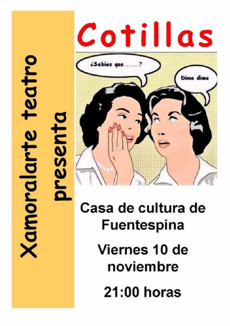 """Cartel de la función de teatro de """"Xamoralarte"""" en Fuentespina"""