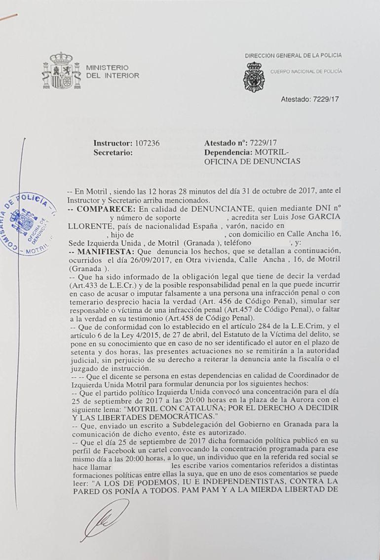 Documento de denuncia de Izquierda Unida