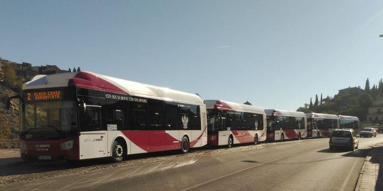 Los cinco nuevos autobuses han sido presentados junto al Puente de San Martín de Toledo
