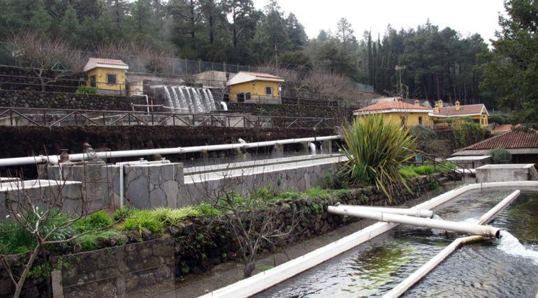 Instalaciones de la piscisfactoria en Aguamansa en La Orotava.