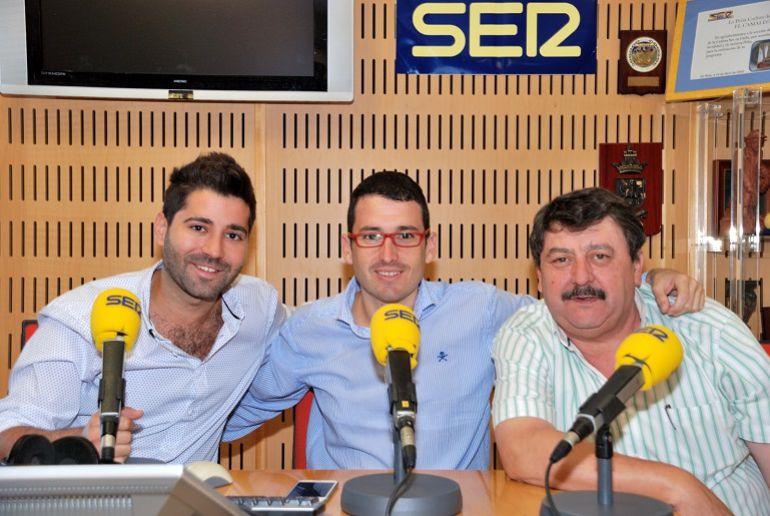 Ignacio de la Varga con Edu Marin y Quique Lafuente, equipo de SER Deportivos de Radio Cádiz