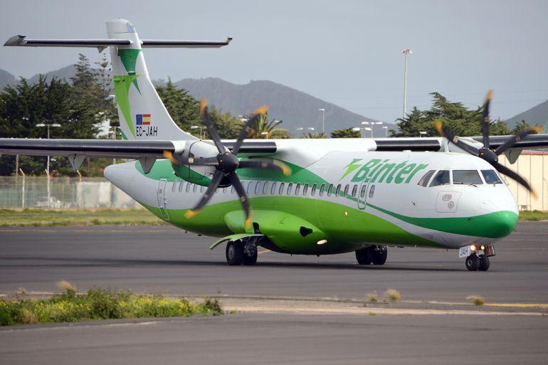 Unos de los aviones de la flota de Binter Canarias.