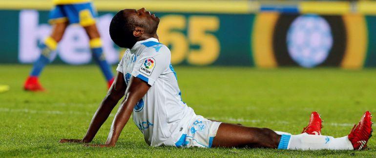 El defensa camerunés del Deportivo, Aldo One, a la finalización del encuentro
