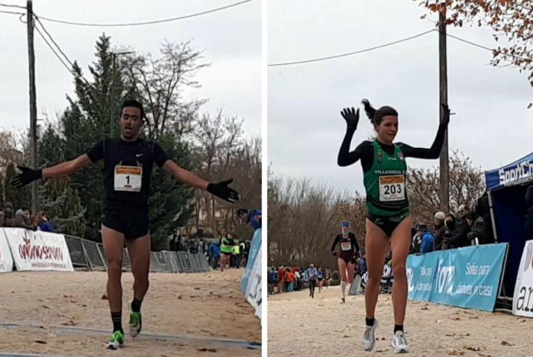 Mokhtar El Habri e Irene Sánchez celebran sus triunfos en la última subida antes de superar la línea de meta.