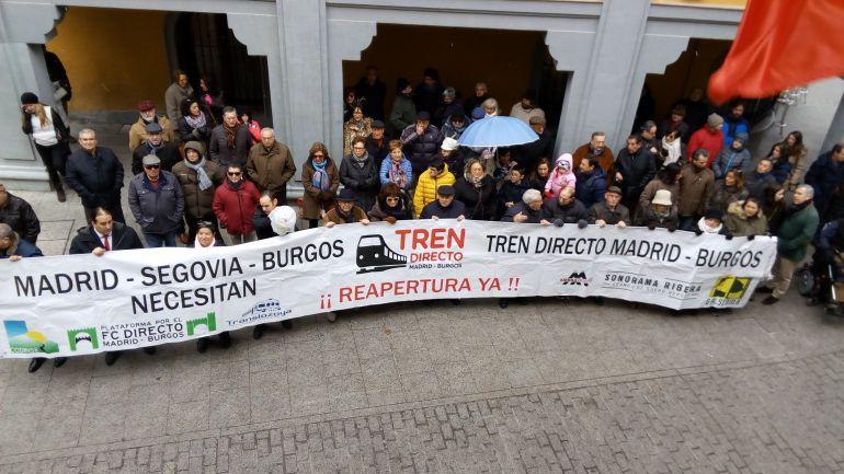 Imagen de la última concentración ciudadana a favor del tren Directo en Aranda de Duero