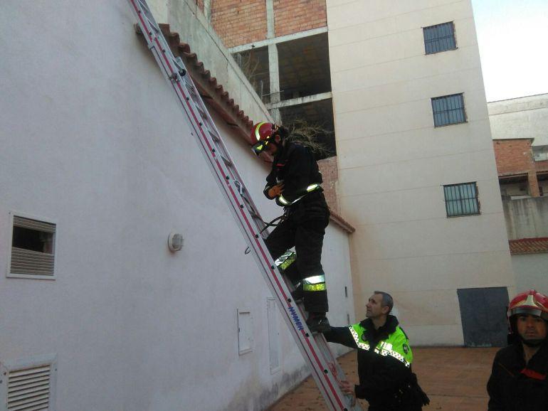 El jefe de bomberos Amador Galdón desciende del tejado con el gato a salvo