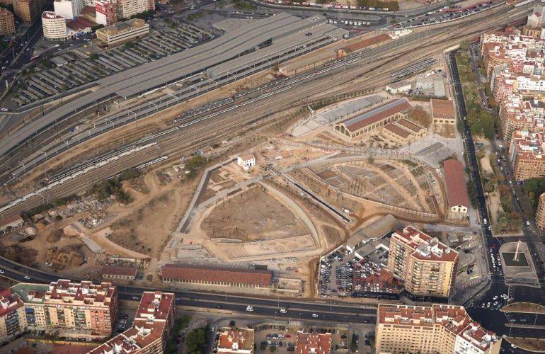 Reciente imagen aérea del ámbito del Parque Central