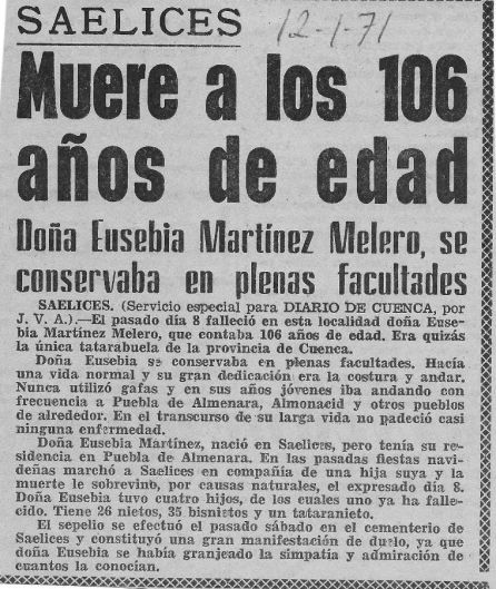 Noticia de la muerte de Eusebia Martínez en 1971 en Diario de Cuenca.