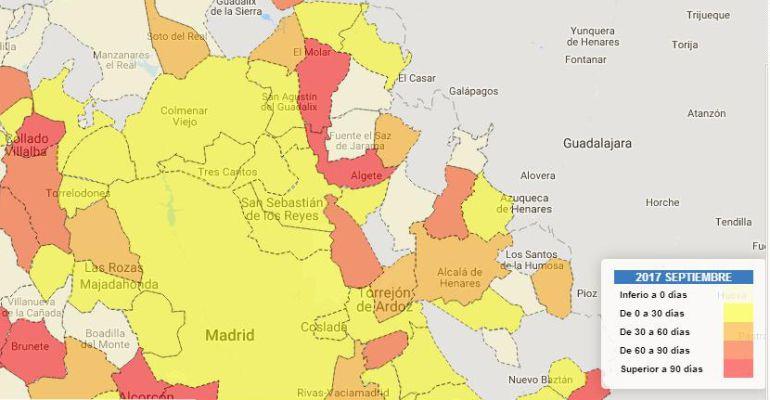Mapa de la media de pago a proveedores de los ayuntamientos madrileños