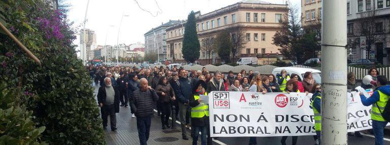 Manifestación de los funcionarios de justicia durante la huelga del pasado 1 de diciembre, en A Coruña.