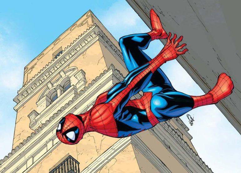 Ilustración de Ángel Olivera de Spiderman en la  zona de la Torre Tavira de Cádiz