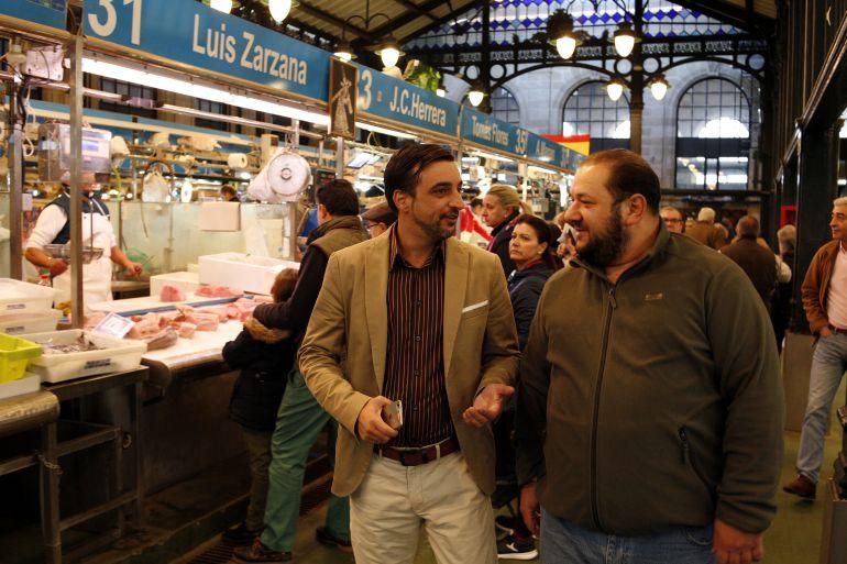 José Antonio Díaz, durante su visita al Mercado de Abastos