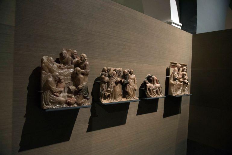 Vista del retablo de Santa Ana hoy en el Museo Diocesano de Lleida, una de las 44 piezas que el Ayuntamiento de Villanueva de Sijena junto con el Gobierno de Aragón, solicitan sean devueltas al Monasterio de Sijena (Huesca)