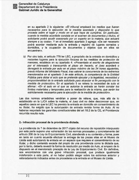 Sixena: Méndez de Vigo retirarà el recurs presentat per la Generalitat per a què tornin les obres de Sixena a Lleida